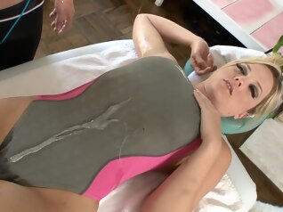 big ass blonde handjob